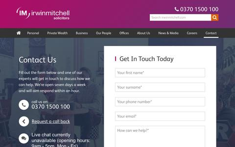Screenshot of Contact Page irwinmitchell.com - Contact us | Irwin Mitchell - captured Aug. 1, 2018