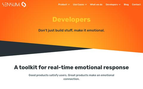 Screenshot of Developers Page sensum.co - API and SDK toolkit for real-time emotional response | Sensum - captured Oct. 24, 2017