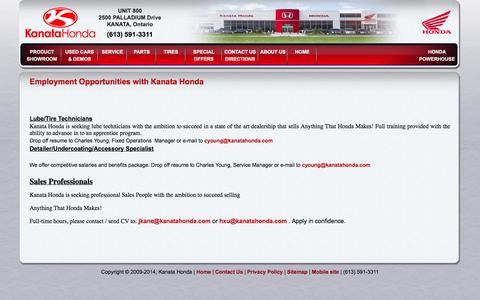 Screenshot of Jobs Page kanatahonda.com - Employment - Kanata Honda - Kanata Honda Ottawa - captured Sept. 30, 2014
