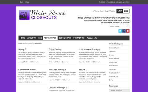 Screenshot of Testimonials Page mainstreetcloseouts.com - Testimonial | MS Closeouts - captured Sept. 30, 2014