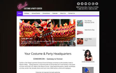 Screenshot of Home Page etoilela.com - Your Costume Headquarters for Retail & Rental Costumes & Accessories. - captured Jan. 20, 2018