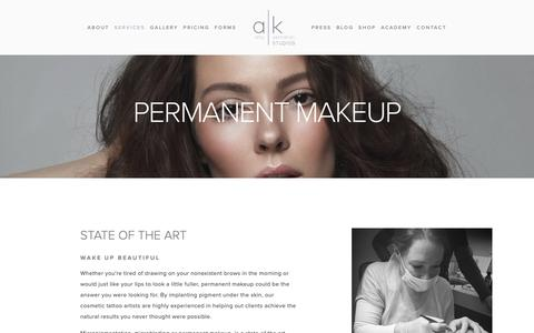 Screenshot of Services Page amykernahan.com - Permanent Makeup — a|k studios - captured Oct. 3, 2018