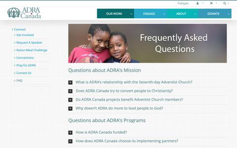 Screenshot of FAQ Page adra.ca - FAQ – ADRA Canada - captured Oct. 2, 2018