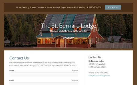 Screenshot of Contact Page stbernardlodge.com - Contact Us | St Bernard Lodge B&B - captured Nov. 9, 2017