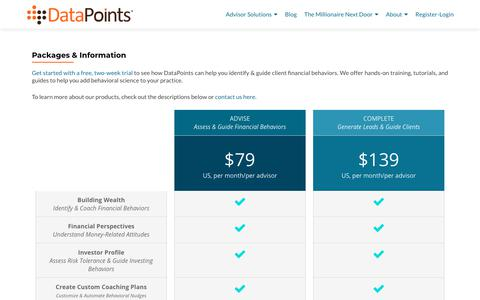 Screenshot of Pricing Page datapoints.com - Packages & Information - DataPoints - captured Sept. 19, 2018