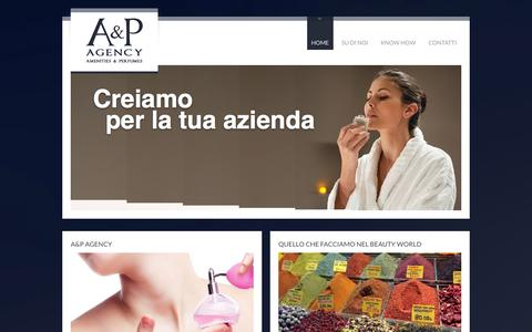 Screenshot of Home Page aep-agency.com - A&P Agency – Amenities e Perfumes – Napoli - captured Oct. 3, 2014
