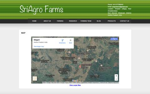 Screenshot of Maps & Directions Page sriag.com - Map | Sri Agro Farms -  Scientific Sustainable Farming of Turmeric, Oil Palm, Yam, Ginger, Gloriosa, Garlic, Onion, Coriander, Rice and Maize - captured Dec. 9, 2017