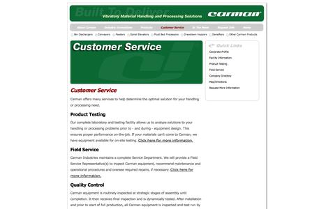 Screenshot of Support Page carmanindustries.com - Vibratory Equipment from Carman Industries - captured Oct. 22, 2014