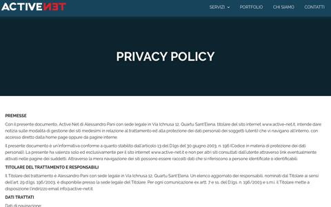 Screenshot of Privacy Page active-net.it - Privacy policy | Active Net Cagliari - captured Aug. 14, 2019