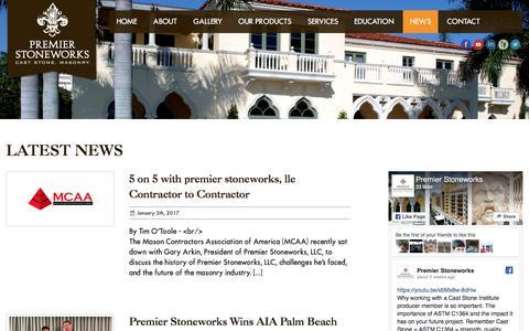 Screenshot of Press Page premier-stoneworks.com - News Archives - Premier Stoneworks - captured Aug. 24, 2017