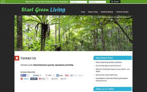 Screenshot of Contact Page startgreenliving.com - Contact Us – Start Green Living - captured Sept. 30, 2014