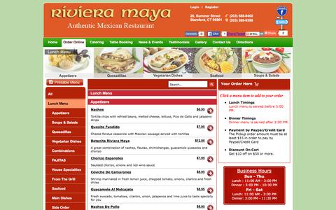 Screenshot of Menu Page rivieramayact.com - Riviera Maya 06901 | Offers Varieties of Mexican Food Menu Online Order Delivery at Stamford - captured March 10, 2016