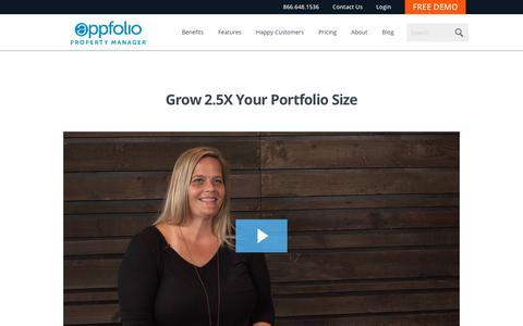 Screenshot of Case Studies Page appfolio.com - AppFolio Video Case Study for Grow 2.5X Your Portfolio Size - captured June 12, 2018