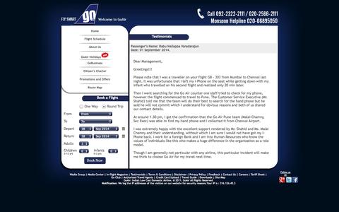 Screenshot of Testimonials Page goair.in - GoAir - Testimonials - captured Sept. 18, 2014