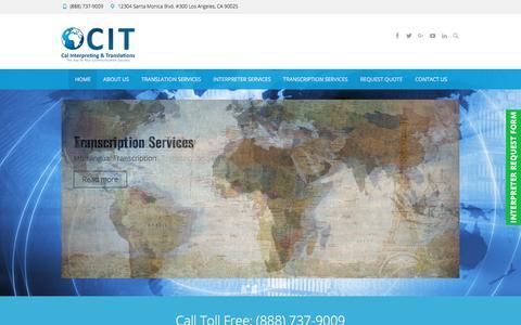 Screenshot of Home Page calinterpreting.com - Los Angeles Translation Services - Cal Interpreting & Translations - captured Sept. 26, 2018