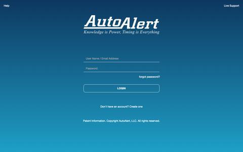 Screenshot of Login Page autoalert.com - AutoAlert | Login - captured June 3, 2019