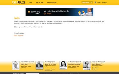 Screenshot of Jobs Page bizzbuzz.com.au - Jobs - Bizz Buzz - captured Sept. 22, 2014