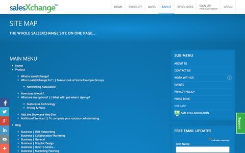 Screenshot of Site Map Page salesxchange.co.uk - Site Map - captured Oct. 8, 2014