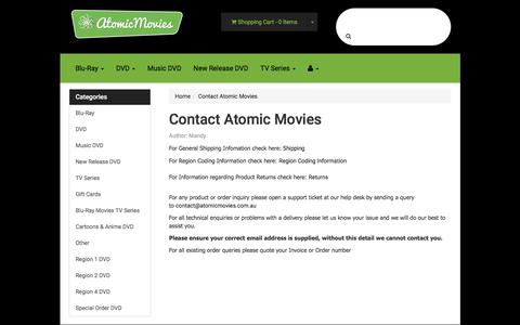 Screenshot of Contact Page atomicmovies.com.au - Contact Atomic Movies - captured June 1, 2016