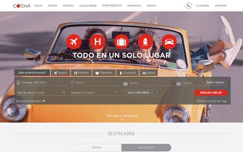 Screenshot of Home Page cocha.com - COCHA | lo mejor en vuelos, hoteles, paquetes, destinos y más - captured Nov. 10, 2018