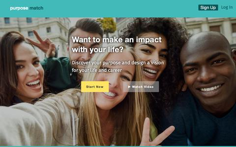 Screenshot of Home Page purposematch.com - PurposeMatch — Discover your purpose and design a vision for your life - captured Sept. 30, 2018