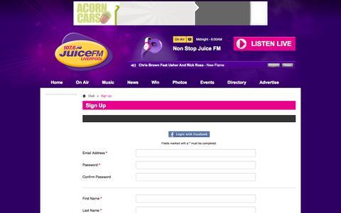 Screenshot of Signup Page juicefm.com - Sign Up | Club - 107.6 Juice FM - captured Sept. 19, 2014