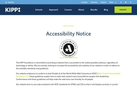 Screenshot of Terms Page kipp.org - Privacy and Accessibility | KIPP Public Charter Schools - captured Oct. 14, 2018
