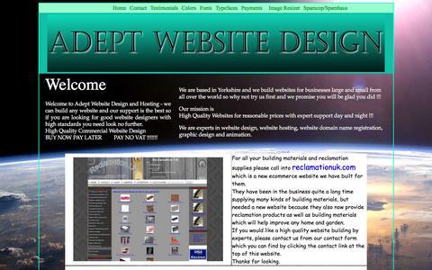 Screenshot of Home Page adeptwebsitedesign.com - Adept Website Design & Hosting - we do it all - captured Feb. 5, 2016