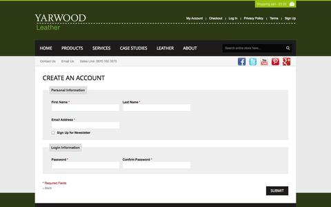 Screenshot of Signup Page yarwoodleather.com - Create New Customer Account - captured Oct. 29, 2014