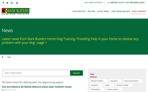 Screenshot of Press Page barkbusters.com - Latest News - from Bark Busters Home Dog Training : page 1 - captured Oct. 5, 2018