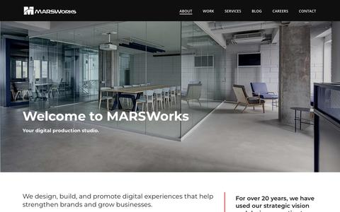 Screenshot of About Page marsworks.com - We Design, Build, & Promote Digital Experiences - since 1997! | MARSWorks - captured Sept. 24, 2018