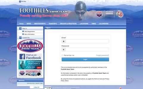 Screenshot of Login Page teamunify.com - Foothills Swim Team : Sign In - captured Jan. 21, 2017
