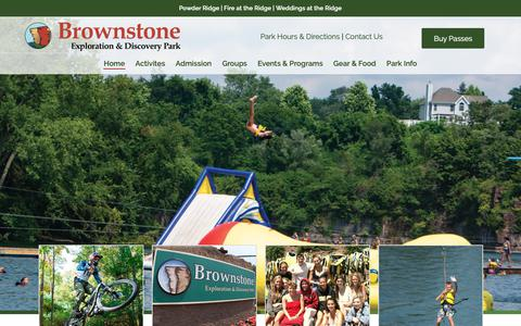 Screenshot of Home Page brownstonepark.com - Water Park, Zip Lines, Cliff Jump, Swim & More at Brownstone Park in Connecticut - captured Oct. 2, 2018
