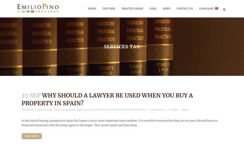 Screenshot of Services Page emiliopino.com - services | Emilio Pino Lawyers - captured Sept. 28, 2018