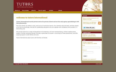Screenshot of Home Page tutors-international.net - tutors, tutor recruitment, private tutors & private tutoring - tutors international - captured Jan. 30, 2015
