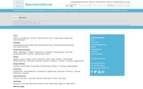 Screenshot of Testimonials Page ropeassemblies.co.uk - Testimonials - Rope Assemblies - captured Oct. 23, 2017