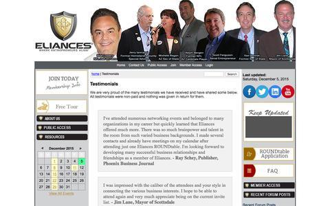 Screenshot of Testimonials Page eliances.com - Testimonials - captured Dec. 5, 2015
