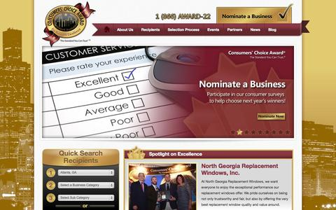 Screenshot of Home Page consumerschoiceaward.com - Business + service awards | Excellence in business | Award winning business - Consumers' Choice Award - captured Sept. 30, 2014