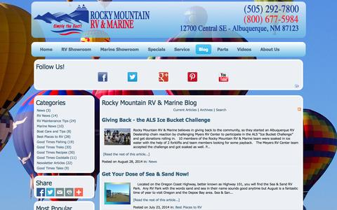 Screenshot of Blog rmrv.com - Rocky Mountain RV & Marine | RVing and Boating tips & Blog - captured Sept. 19, 2014