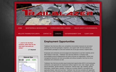 Screenshot of Jobs Page trailblazerspecialties.com - Trailblazer Specialties - GeoSteering & GeoNavigation - Careers - captured Oct. 27, 2014