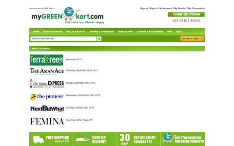 Screenshot of Press Page mygreenkart.com - Media Coverage - captured Sept. 19, 2014