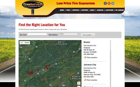Screenshot of Contact Page Maps & Directions Page freeservicetire.com - Free Service Tire Company - My Installers - captured March 14, 2016