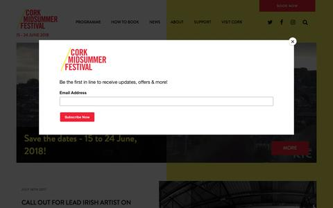 Screenshot of Home Page corkmidsummer.com - 10 days of arts events by the banks of the Lee - Cork Midsummer Festival 2017 - Cork Midsummer Festival 2017 - captured Aug. 30, 2017