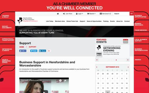 Screenshot of Support Page hwchamber.co.uk - Business Support in Herefordshire & Worcestershire   Herefordshire & Worcestershire Chamber of Commerce - captured Sept. 26, 2018