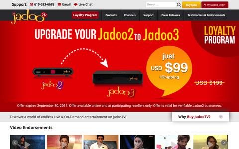 Screenshot of Home Page jadootv.com - OFFICIAL JadooTV Website - Endless Entertainment! - captured Sept. 25, 2014
