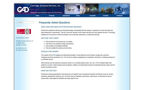 Screenshot of FAQ Page cartactdev.com - Cartridge Actuated Devices, Inc. - Frequently Asked Questions - captured Oct. 2, 2014
