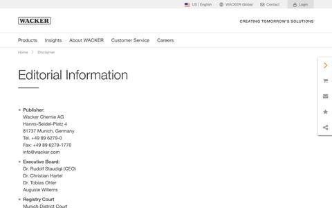 Screenshot of Terms Page wacker.com - Editorial Information - Wacker Chemie AG - captured Nov. 6, 2019