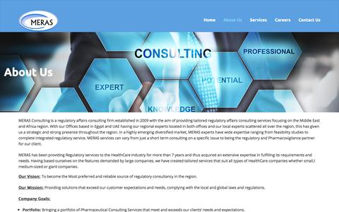 Screenshot of About Page meras-consulting.com - About Us - MERAS CONSULTING - captured Sept. 26, 2017