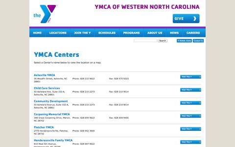 Screenshot of Locations Page ymcawnc.org - YMCA of Western North Carolina - captured Oct. 3, 2014