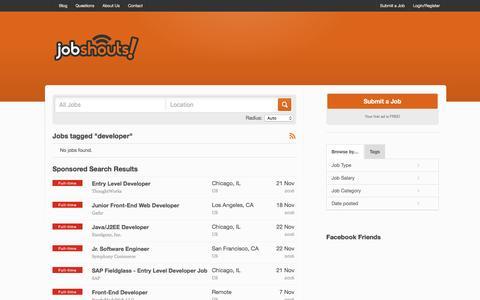 Screenshot of Developers Page jobshouts.com - Job Tags  developer - captured Nov. 27, 2016